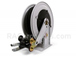 Oil hose reel with universal hose stop