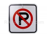 Reflective no parking symbol sign